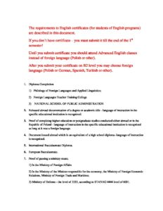Wszic_Requirements to English Certificates