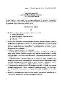 Regulamin świadczeń dla studentów WSS